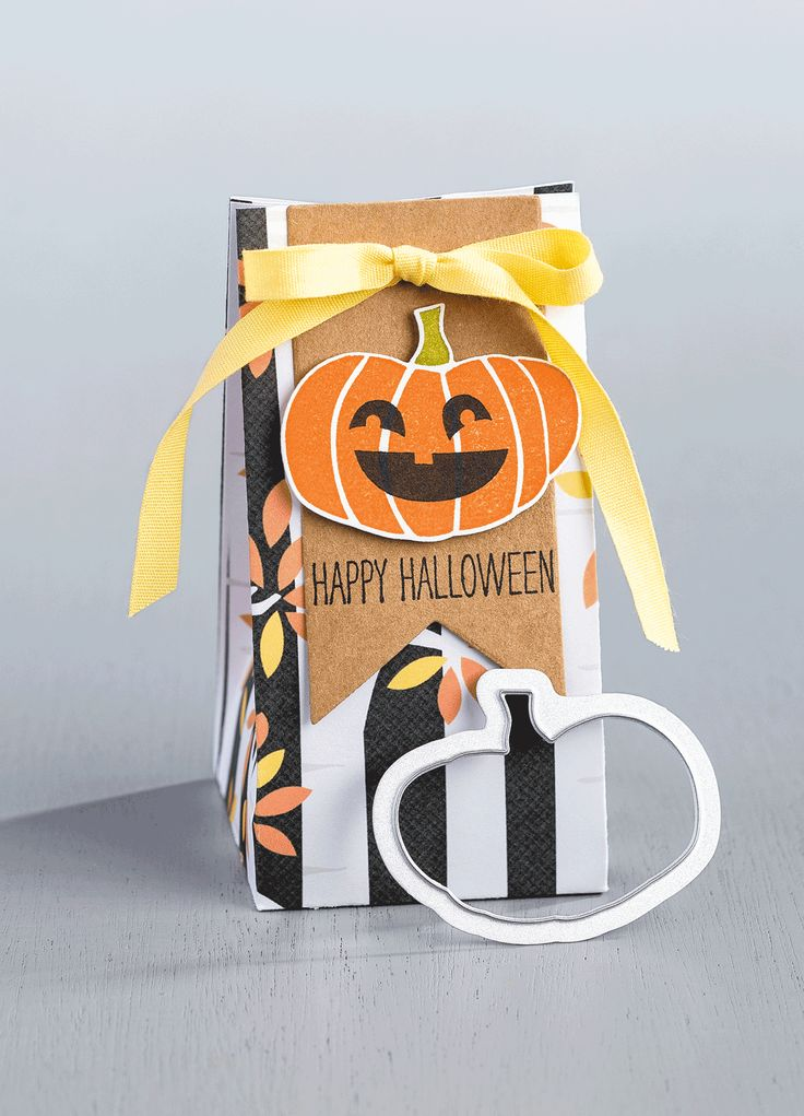 Your Halloween treats can be made even more adorable using the Motley Monsters Designer Series Paper and the Fall Fest stamp set to make a fun gift bag and tag.