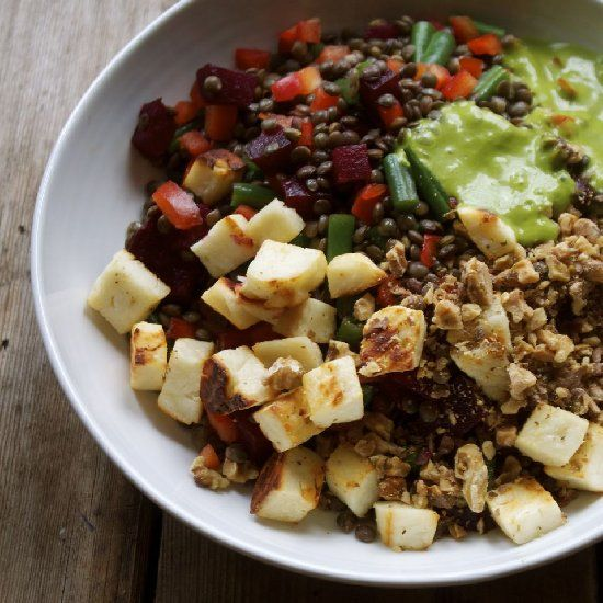 French lentils with beets, walnuts, green beans & delicious haloumi ...