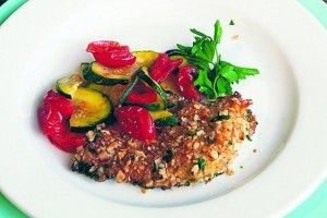 Chicken Cutlets With Matzo Herbed Crust, Zucchini and Tomatoes