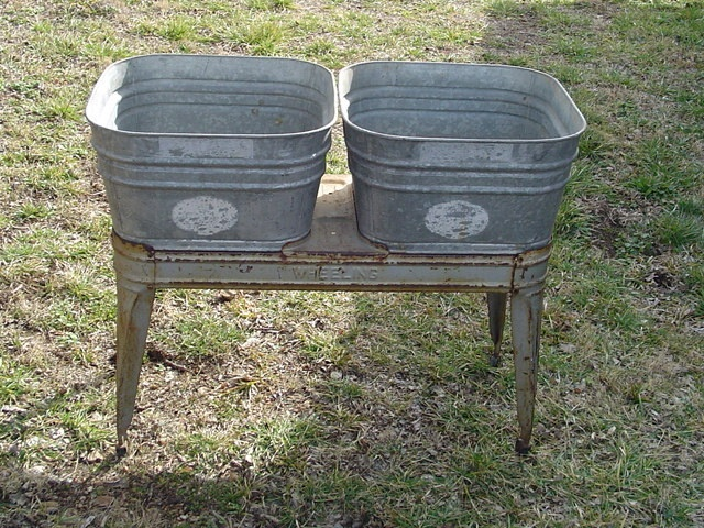 Wash Tub With Stand : ... Wheeling Double WASH TUBS galvanized with stand vintage Local