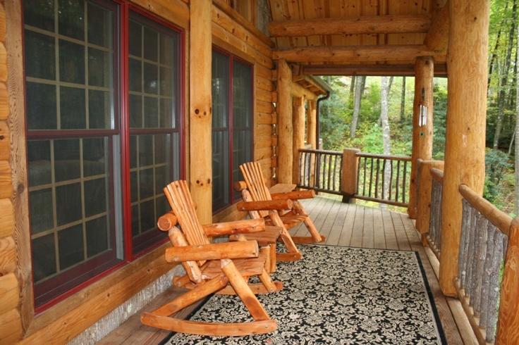 Log cabin porch log cabins pinterest for Log cabin porches and decks