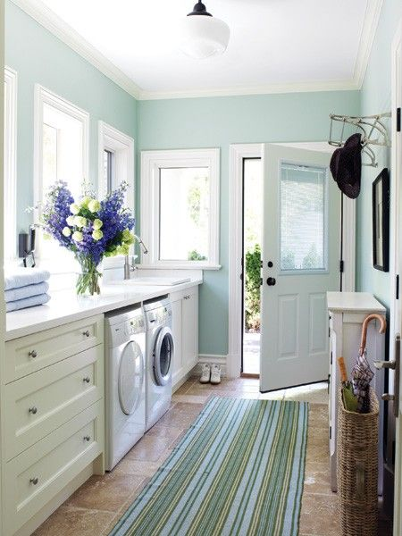 Pretty-Blue-Laundry-Room-Striped-Rug