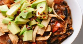 Vegetarian Butternut Squash Chipotle Chili with Avocado