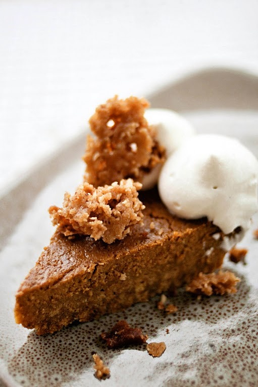 Pumpkin cake with cinnamon, bourbon, maple and whipped cream