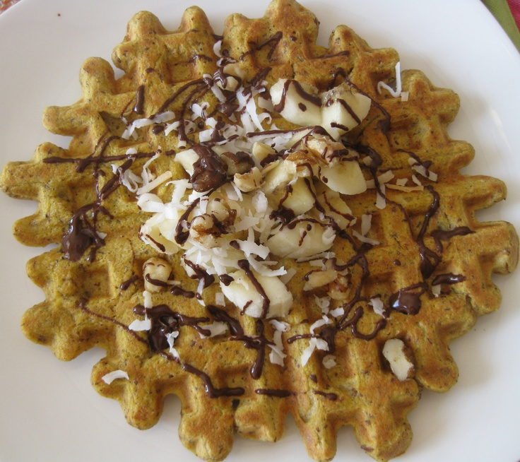 ... and Coconut Flax Waffle with Bananas, Dark Chocolate, and Toasted Nuts