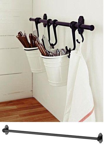 Poäng Bedroom Chair From Ikea ~ IKEA steel rail 31  pot pan utensil cutlery caddy holder bar towel ra