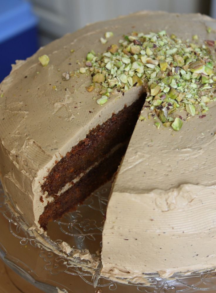 free carrot cake, with coconut sugar frosting, topped with pistachios ...