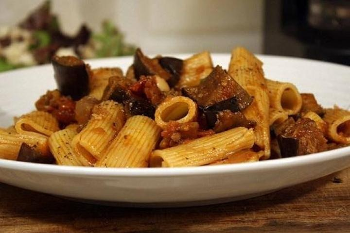 Rigatoni with eggplant, peppers & tomatoes.....all for the fall season ...