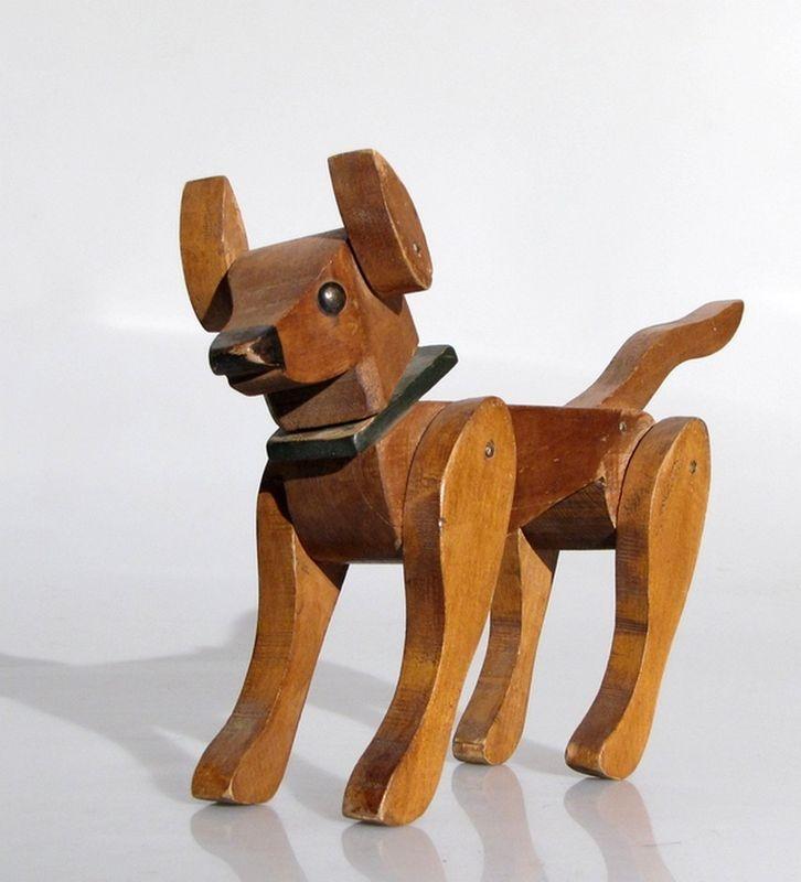 AUSTRALIAN 50'S FOLK ART TREEN TOY DOG