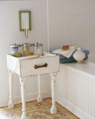 Add legs to old drawers for a side table! repurpose-refinish-redo-ideas