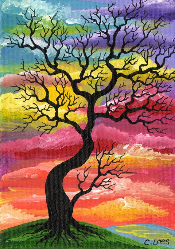 Stark black tree painting colorful background for Acrylic painting on black background