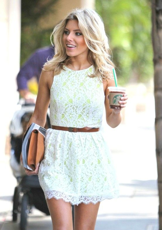 love her hair!! - Lace dress with a hint of neon