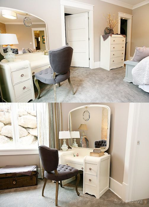 Bedroom with re-finished 1940's furniture