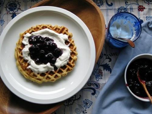 Corn Waffles with Yogurt and Blueberries | My Kitchen | Pinterest