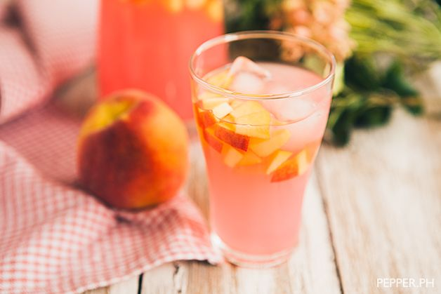 Pink Lemonade 2 peaches sliced and cubed 1/4 Cup Peach Vodka 1 Cup Ice ...