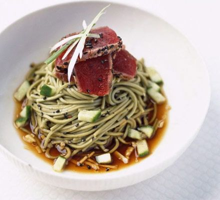 noodles with seared tuna & soy mirin dressing (marinate tuna in soy ...
