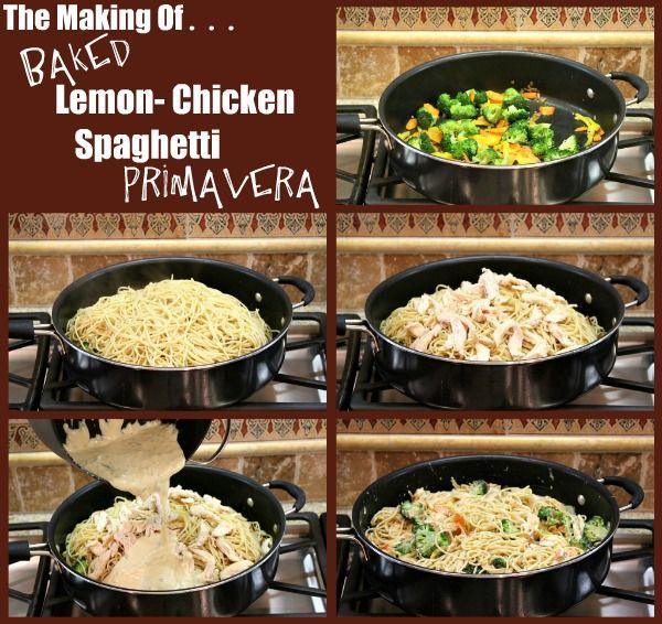 Baked Lemon Chicken Spaghetti Primavera   Recipe Girl
