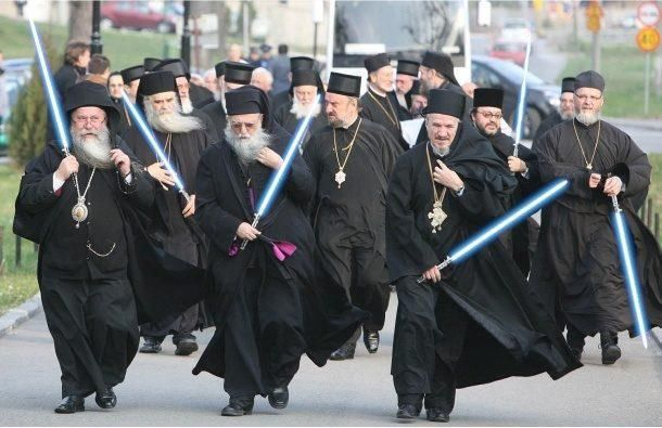 I never knew the Orthodox priests and monks had such weaponry. Lightsaber FTW!