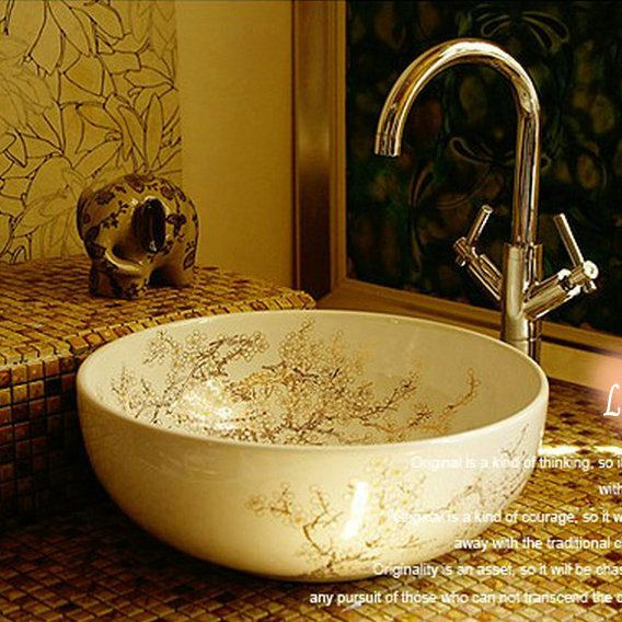 lotus vessel sinks Lotus&Fish Round Vessel Bowls Red Ceramic ...