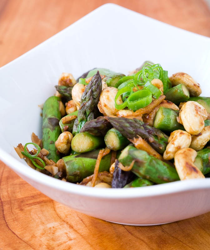 ... stir fried asparagus and shiitake with ginger and sesame cashew