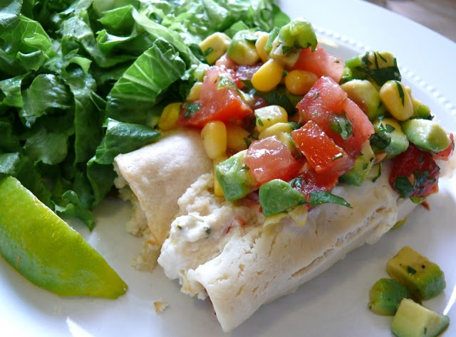 ... + Food = Love: White Chicken Enchiladas with Corn and Avocado Salsa