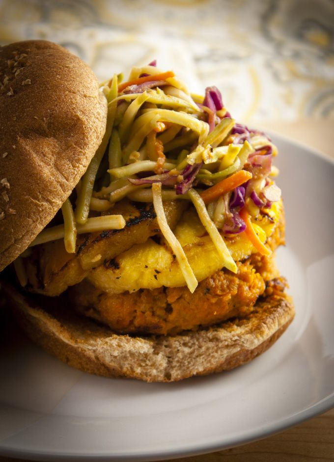 ... Sriracha Turkey Burger with Grilled Pineapple and Spicy Peanut Slaw
