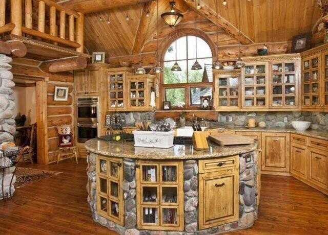 Beautiful log cabin kitchen all about the kitchen for Log cabin kitchen islands