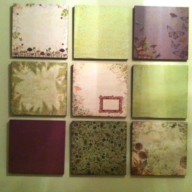 Wall Decor With Scrapbook Paper : Scrapbook paper wall art teen girl room