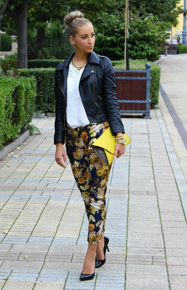 leather jacket – A Timeless Trend.....love the printed pants