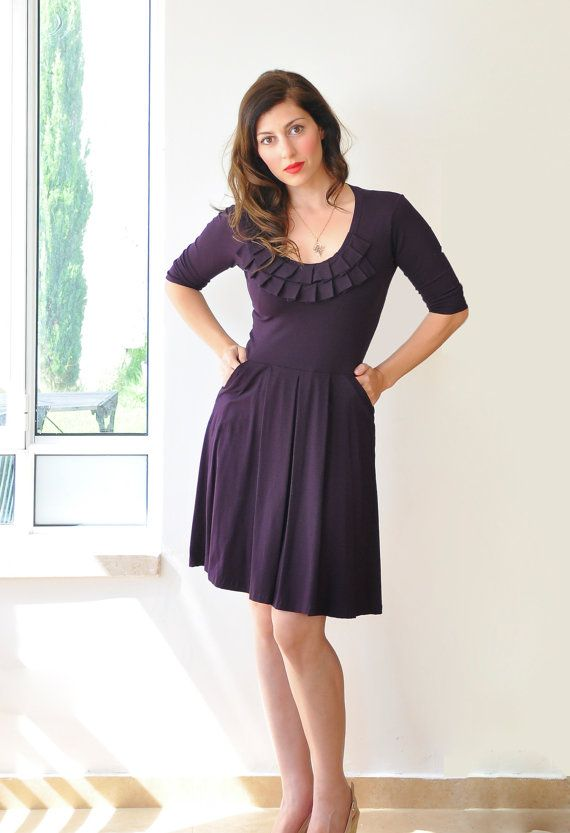 Purple Bridesmaid Dress With Sleeves  cocktail   Prom   by Lirola       Purple Cocktail Dresses With Sleeves