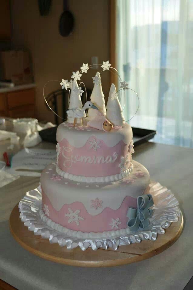 winter wonderland baby shower cake by antonella