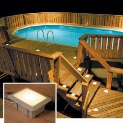 Above ground pool deck lighting   Above Ground Pool Decks   Pinterest