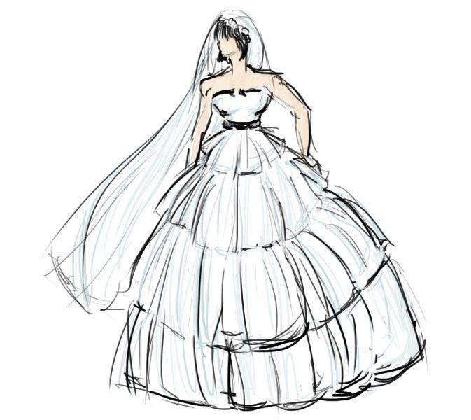 Как нарисовать девушку в свадебном платье поэтапно