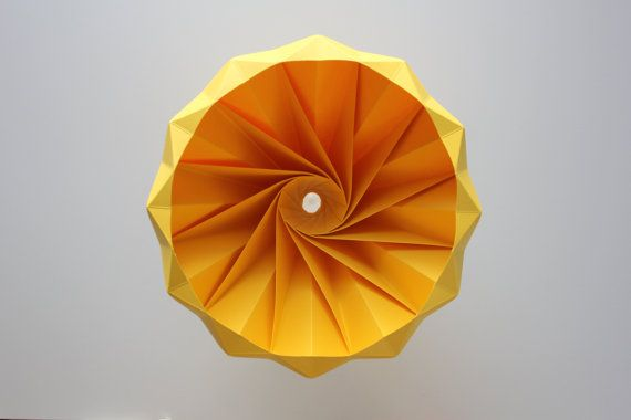 Chestnut paper origami lampshade Gold Yellow by nellianna on Etsy, €89.00
