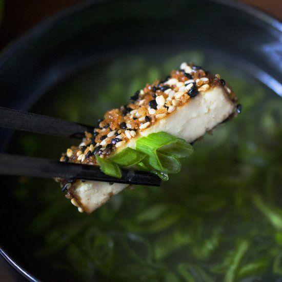 crispy tofu with sesame asparagus and dipping sauce recipe key crispy ...