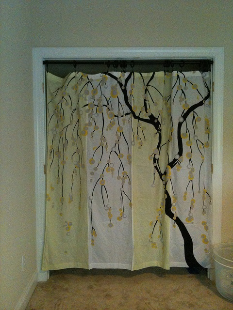 Closet quot doors quot shower curtain rod shower curtain flanked by solid