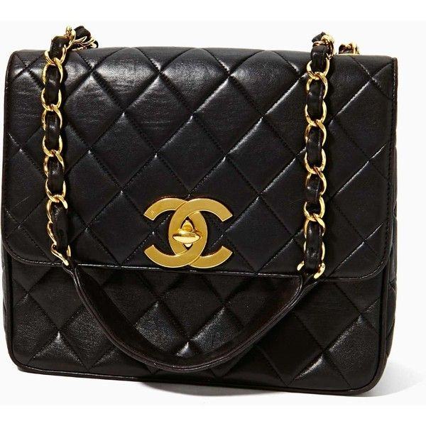Vintage Chanel Quilted Leather Logo Handbag found on Polyvore