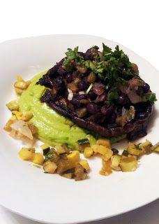 Black Bean Stuffed Portobello with Avocado Poblano Mousse & Zucchini ...
