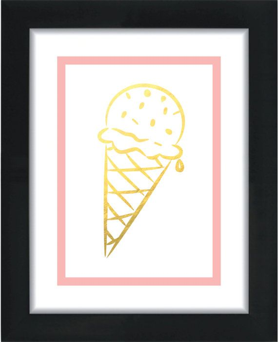 5x7 Ice Cream Cone Faux Gold Print Home Decor Wall by PlumaPaper, $10 ...: pinterest.com/pin/233413193162343918