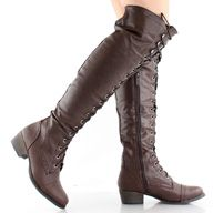 Brown Combat Lace Up Military Oxford Womens Over The Knee Thigh