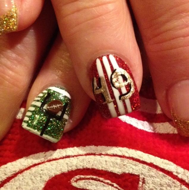 SF 49er nails | 49ERS | Pinterest