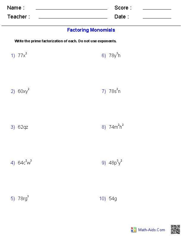 Factoring Monomials Worksheets | Math-Aids.Com | Pinterest
