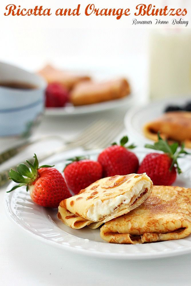 Ricotta and orange blintzes. Thin crepes filled with sweet ricotta ...