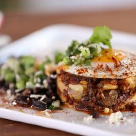 Chorizo-Potato Hash Browns with Black Beans and Salsa Verde: This is ...