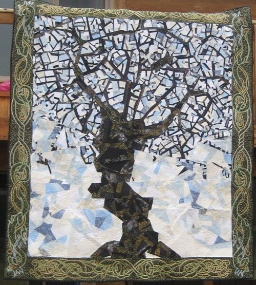 Yggdrasil-Queen size quilt by Crow Woman Quilts