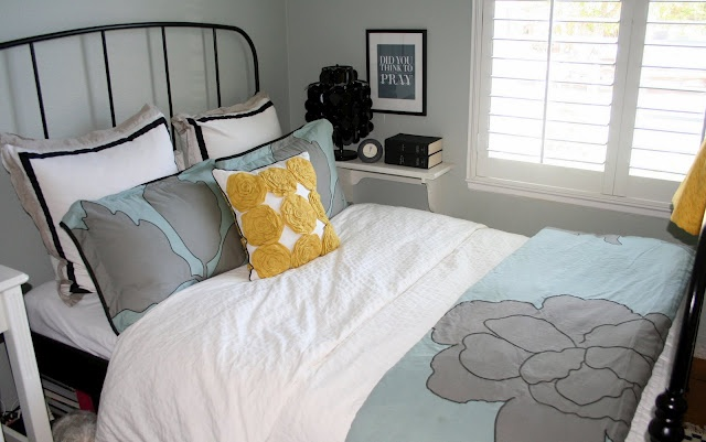 Ikea Yellow Blue And Gray Bedroom For The Home Pinterest