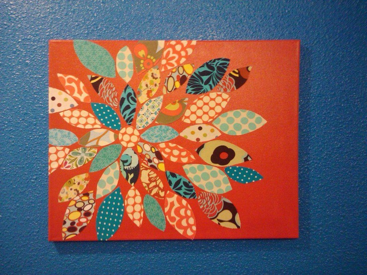 fabric flower on canvas | Crafts are for cool kids | Pinterest