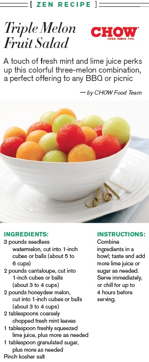 Triple Melon Fruit Salad by Chow for Watch! Magazine.