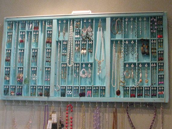 Printer Drawer Jewelry Display ~ I've seen these before, but not in this gorgeous color