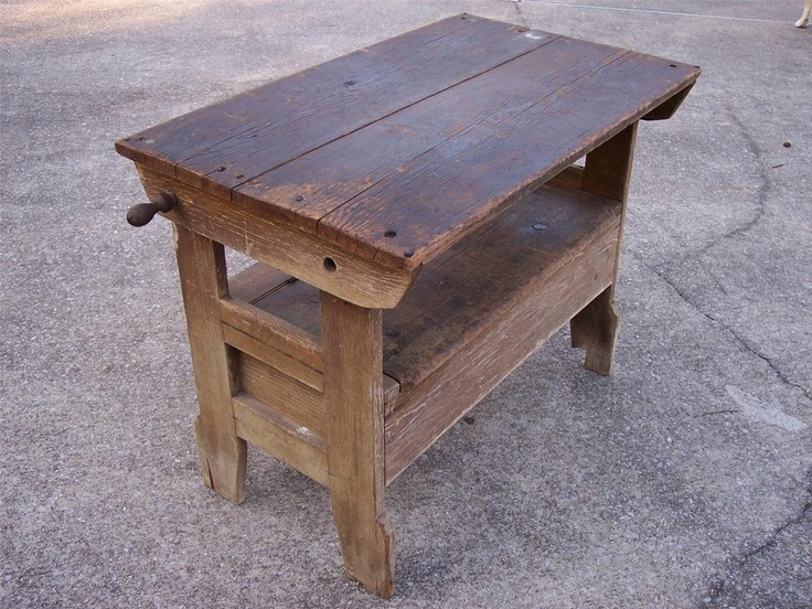 Antique Primitive Settle Hutch Table Bench Seat Storage Early